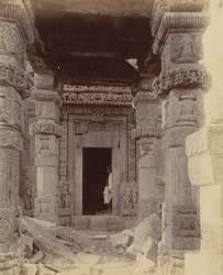 Close view of entrance porch and doorway of the Gadarmal Temple, Pathari, Bhopal State. 10031319